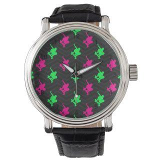 Neon Green, Hot Pink, Skater, Black Chevron Watch