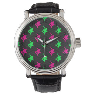 Neon Green, Hot Pink, Skater, Black Chevron Wristwatch