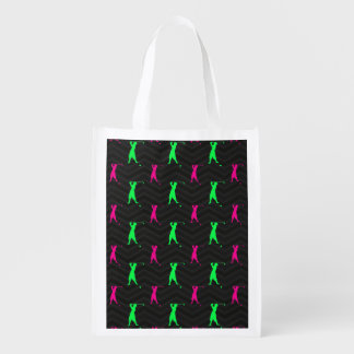 Neon Green, Hot Pink, Vintage Golfer Black Chevron Reusable Grocery Bag