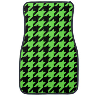 Neon Green Houndstooth Pattern Car Mat
