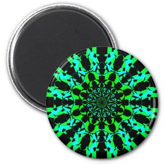Neon Green Mandala 6 Cm Round Magnet