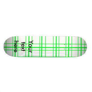 Neon green plaid on white background 18.1 cm old school skateboard deck