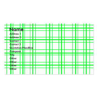 Neon green plaid on white background business card templates