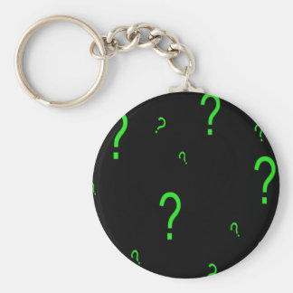 Neon Green Question Mark Basic Round Button Key Ring