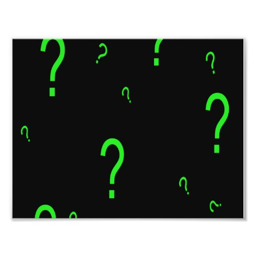 Neon Green Question Mark Photo Print