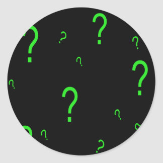 Neon Green Question Mark Round Sticker