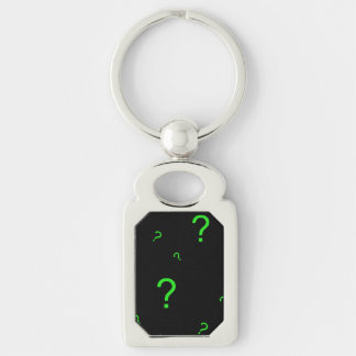 Neon Green Question Mark Silver-Colored Rectangle Key Ring