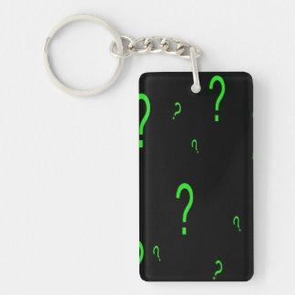 Neon Green Question Mark Single-Sided Rectangular Acrylic Key Ring