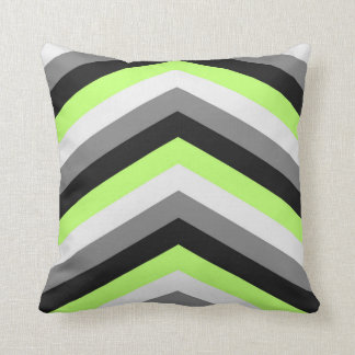 Neon Green Shades Large Chevron ZigZag Pattern Cushion