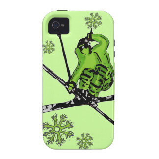 Neon green skier theme iphone case iPhone 4/4S cover