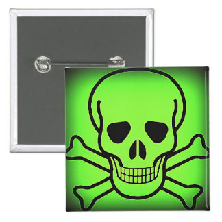 NEON GREEN SKULL AND CROSSBONES PRINT 15 CM SQUARE BADGE