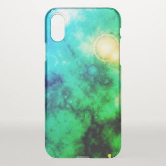 Neon Green Space Diffuse Blue Nebula and Supernova iPhone X Case