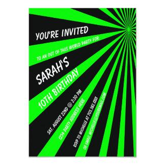 Neon Green Sun Beams Birthday Party Invitation