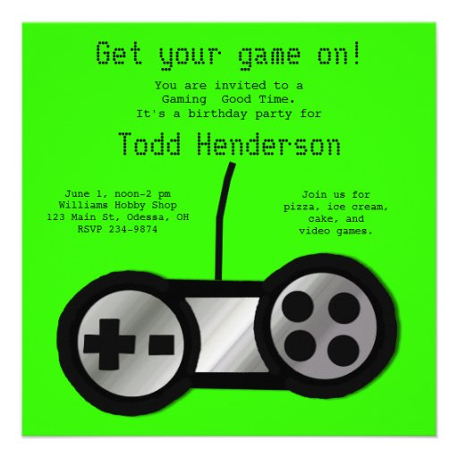 Neon Green Video Gaming Party Invitation