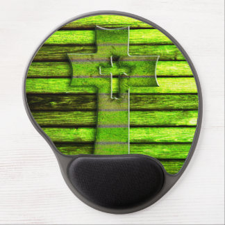 Neon Green Wooden Cross Gel Mouse Pad
