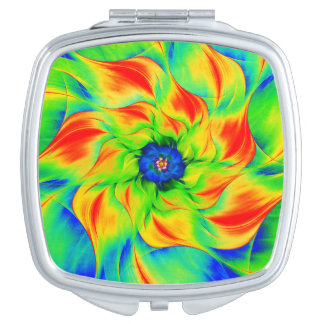 Neon Green, Yellow, Red & Blue Fractal Flower Vanity Mirror