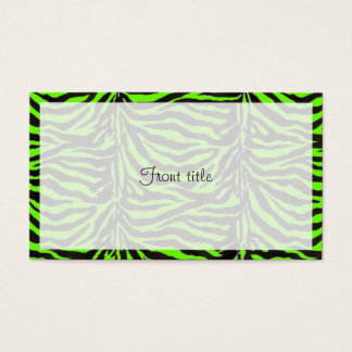 Neon Green Zebra Skin Texture Background Business Card