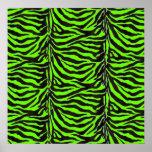 Neon Green Zebra Skin Texture Background Posters
