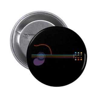 Neon Guitar 6 Cm Round Badge