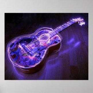 Neon Guitar Poster