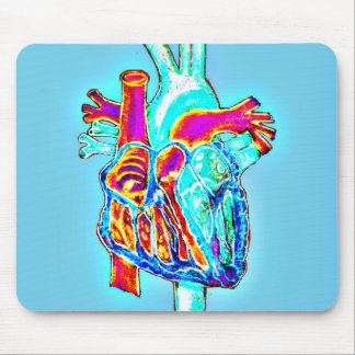 Neon Hand Drawn Anatomical Heart Mouse Pad