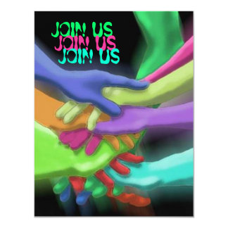 "NEON HANDS ""JOIN US"" GRADUATION PARTY INVITATION"