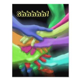 NEON HANDS STACKED SURPRISE SHHH PARTY INVITATION