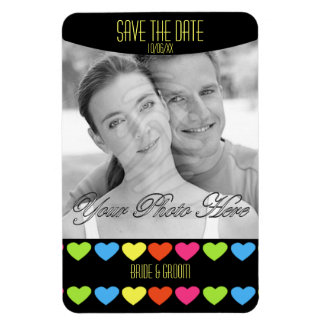 Neon Hearts (Save The Date) Rectangle Magnets