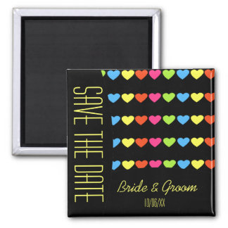 Neon Hearts (Wedding) Square Magnet