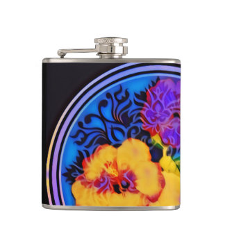 Neon hibiscus on black background hip flask