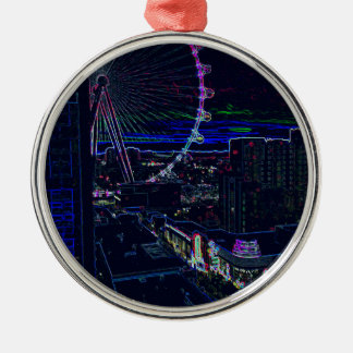 Neon High Roller Ferris Wheel Abstract Vegas Metal Ornament