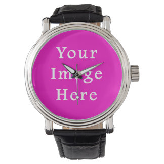 Neon Hot Pink Color Trend Blank Template Wristwatches