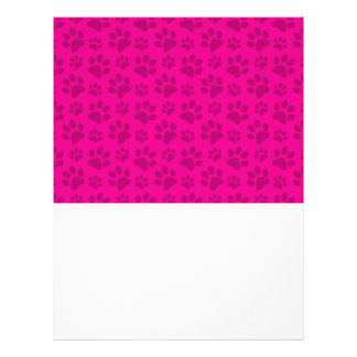Neon hot pink dog paw print pattern custom flyer
