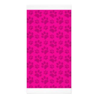 Neon hot pink dog paw print pattern custom photo card