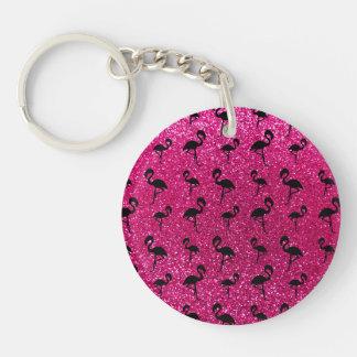 Neon hot pink glitter flamingos Single-Sided round acrylic key ring