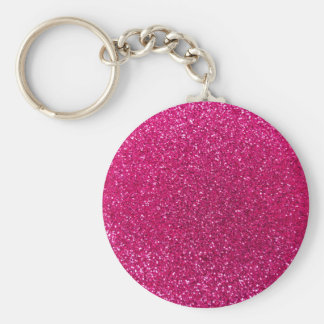 Neon hot pink glitter basic round button key ring