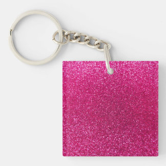 Neon hot pink glitter Single-Sided square acrylic key ring