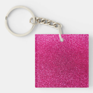 Neon hot pink glitter Double-Sided square acrylic key ring