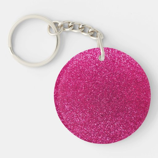 Neon hot pink glitter acrylic keychain