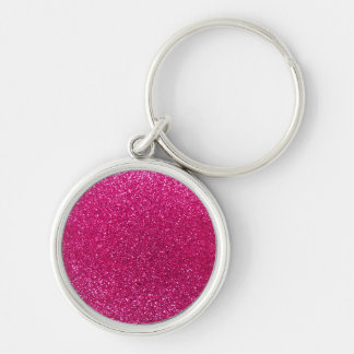 Neon hot pink glitter Silver-Colored round key ring
