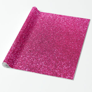 Neon hot pink glitter wrapping paper