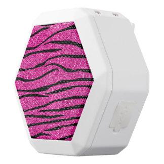 Neon hot pink glitter zebra stripes white boombot rex bluetooth speaker