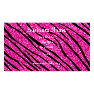 Neon hot pink glitter zebra stripes business card
