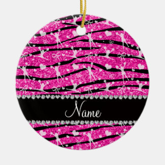 Neon hot pink glitter zebra stripes cheerleading ceramic ornament