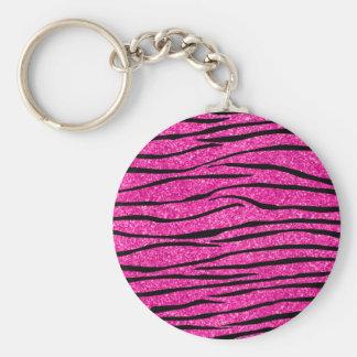 Neon hot pink glitter zebra stripes keychains