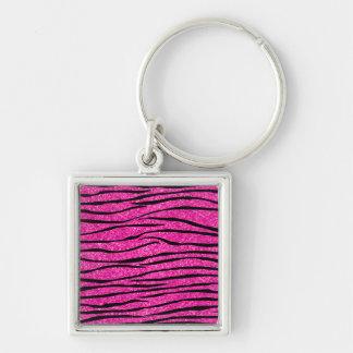Neon hot pink glitter zebra stripes key chains