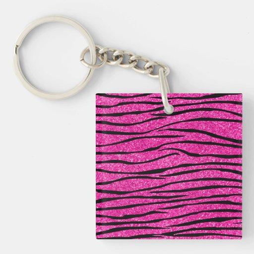 Neon hot pink glitter zebra stripes acrylic keychains