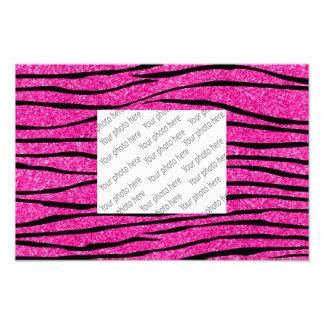 Neon hot pink glitter zebra stripes photo art