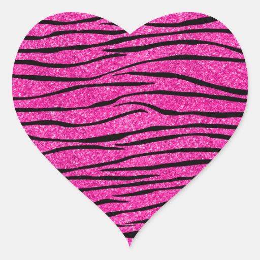 Neon hot pink glitter zebra stripes stickers