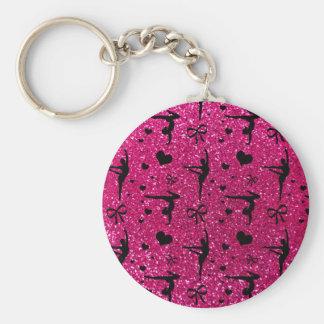 Neon hot pink gymnastics glitter pattern keychain